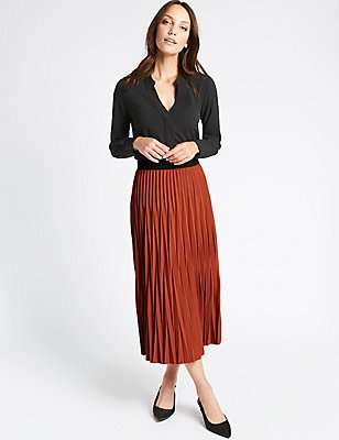 Pleated A-Line Midi Skirt, COPPER TAN, catlanding