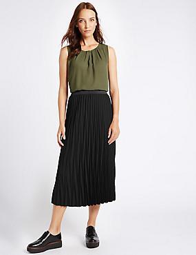 Pleated A-Line Midi Skirt, , catlanding