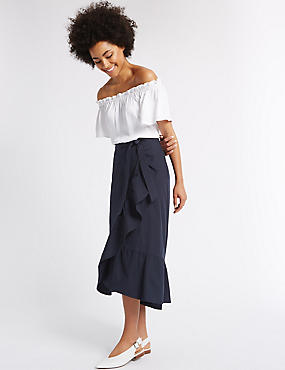 Pure Cotton Striped A-Line Wrap Midi Skirt, NAVY, catlanding