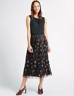 Floral Lace Pleated A-Line Midi Skirt, BLACK MIX, catlanding