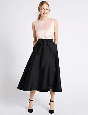 Satin Tie Front Gathered Full Maxi Skirt , BLACK, catlanding