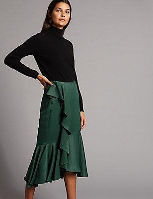 Satin Ruffle Pencil Midi Skirt, BOTTLE GREEN, catlanding