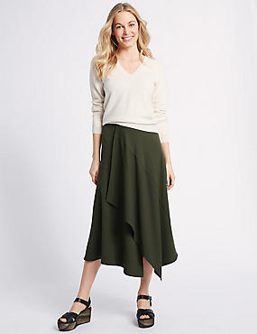 Asymmetric Panel Detail Wrap Midi Skirt, DARK OLIVE, catlanding