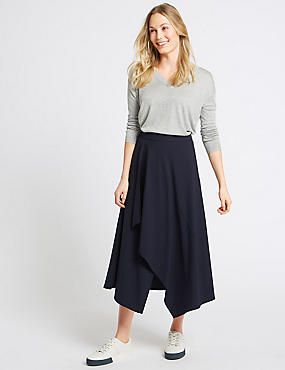 Deconstructed Stripe Wrap Midi Skirt, DARK NAVY MIX, catlanding