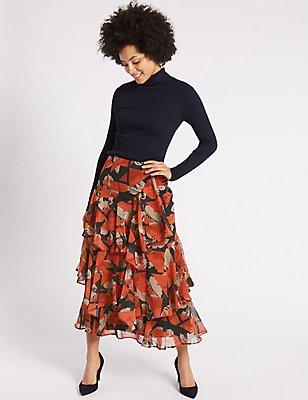 Scarf Print Ruffled A-Line Midi Skirt, BLACK MIX, catlanding