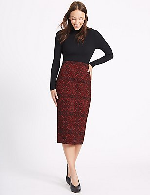 Paisley Print Pencil Midi Skirt, RED MIX, catlanding