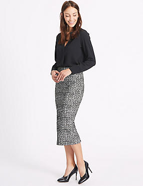 Scratch Print Pencil Midi Skirt, BLACK MIX, catlanding