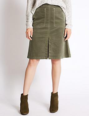 Katoenrijke rok met A-lijn, GRIJS, catlanding