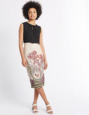 Floral Print Pencil Midi Skirt, CREAM MIX, catlanding