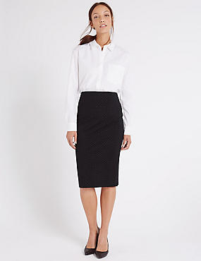 Spotted Pencil Skirt, BLACK MIX, catlanding