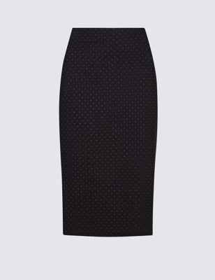 Зауженная юбка-карандаш в мелкий горошек M&S Collection T594905