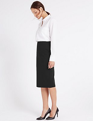 Pull On Pencil Midi Skirt, BLACK, catlanding