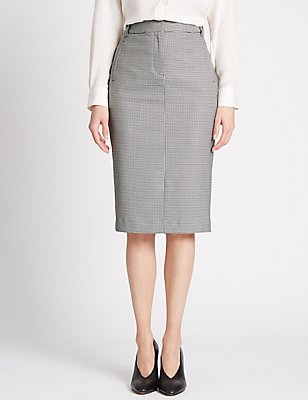 Checked Pencil Skirt, GREY MIX, catlanding