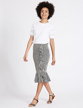 Gingham Ruffle Pencil Midi Skirt, BLACK MIX, catlanding