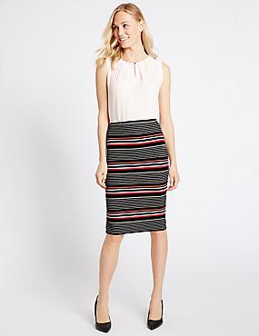 Striped Pencil Midi Skirt, BLACK MIX, catlanding
