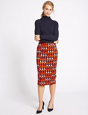 Geometric Print Jersey A-Line Midi Skirt , RED MIX, catlanding