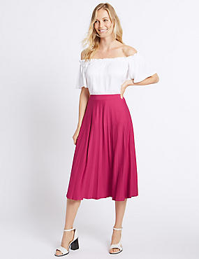 Pleated A-Line Midi Skirt, PINK, catlanding