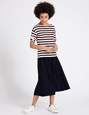 Pleated A-Line Midi Skirt, NAVY, catlanding