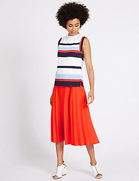 Pleated A-Line Midi Skirt, BRIGHT ORANGE, catlanding