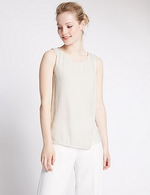 PETITE Front Pleat Sleeveless Blouse, IVORY, catlanding