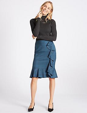 Checked Ruffle Pencil Midi Skirt , TEAL MIX, catlanding