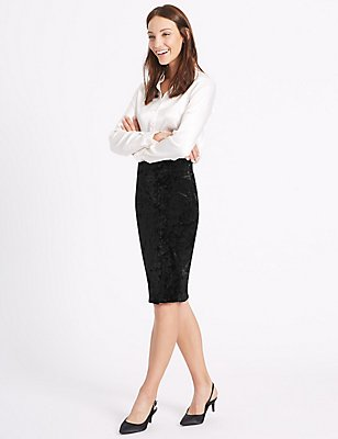 Velvet Pencil Midi Skirt, BLACK, catlanding