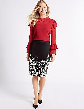 Floral Print Pencil Midi Skirt, BLACK MIX, catlanding