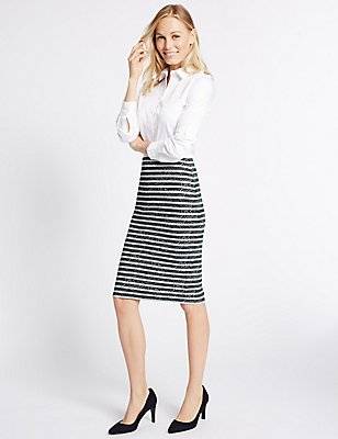 Striped Geometric Print Pencil Skirt, , catlanding