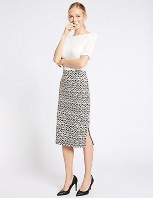Cotton Blend Animal Jacquard Pencil Skirt, BLACK MIX, catlanding