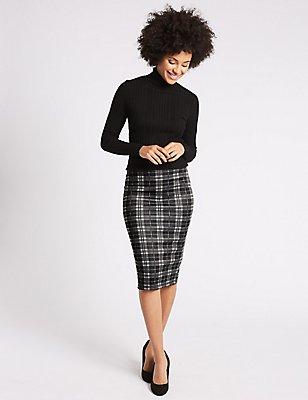 Scuba Checked Pencil Midi Skirt, BLACK MIX, catlanding