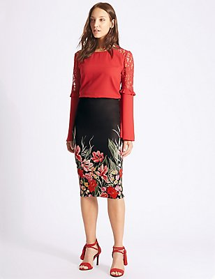 Scuba Floral Print Pencil Midi Skirt, BLACK MIX, catlanding