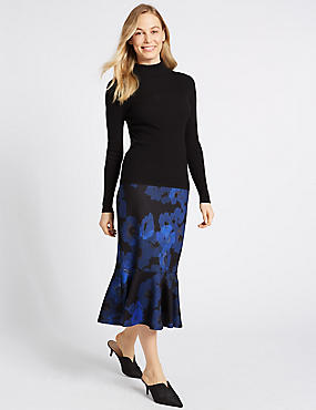 Floral Print Fishtail Midi Skirt , NAVY MIX, catlanding