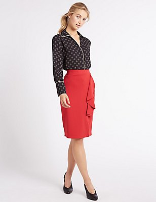 Ruffle Front Split Pencil Midi Skirt, RED, catlanding
