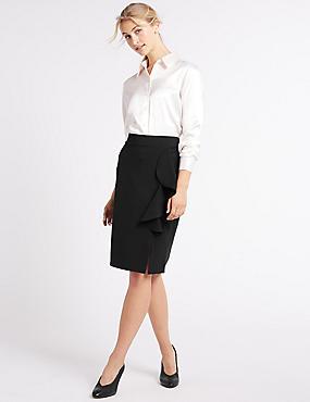 Ruffle Front Split Pencil Midi Skirt, BLACK, catlanding
