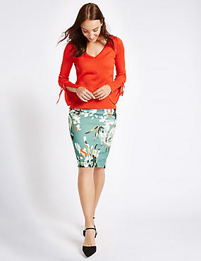 Scuba Floral Print Pencil Midi Skirt, GREEN MIX, catlanding