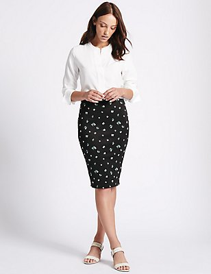 Printed Pencil Midi Skirt, BLACK, catlanding