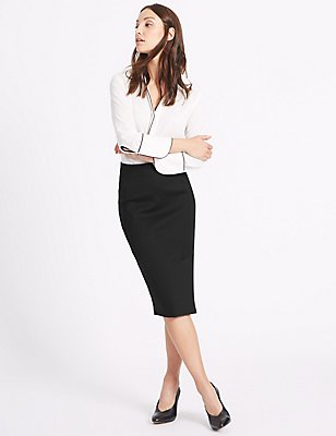 Pencil Midi Skirt, BLACK, catlanding