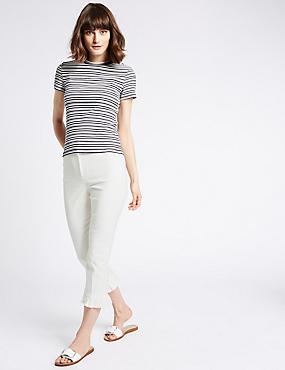 Cotton Blend Frill Hem Slim Leg Trousers, SOFT WHITE, catlanding