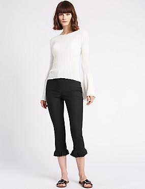 Cotton Blend Frill Hem Slim Leg Trousers, BLACK, catlanding