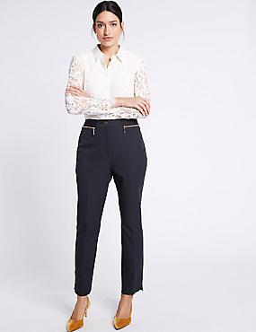 Cotton Rich Slim Leg Trousers, DARK NAVY, catlanding