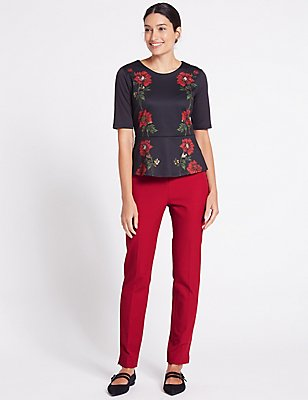 Cotton Rich Slim Leg Trousers, LIPSTICK, catlanding