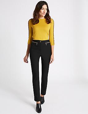 Cotton Rich Slim Leg Trousers, BLACK, catlanding