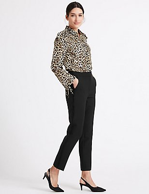 Side Frill Slim Leg Trousers, BLACK, catlanding