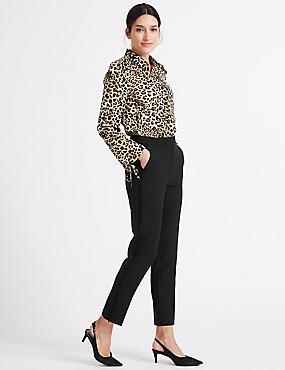 Side Frill Slim Leg Trousers, BLACK, catlanding