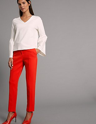 Slim Leg Trousers, POPPY, catlanding