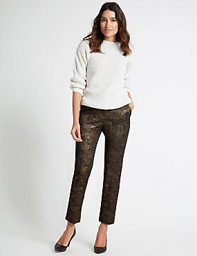 Cotton Rich Textured Slim Leg Trousers, GOLD, catlanding