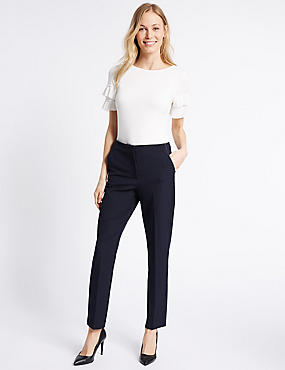 Spotted Slim Leg Trousers, NAVY MIX, catlanding