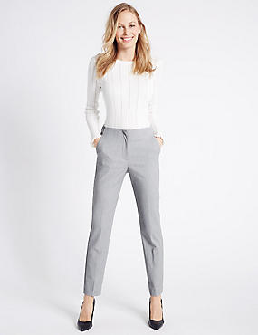 Spotted Slim Leg Trousers, GREY MIX, catlanding