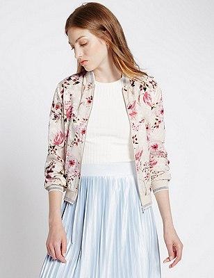 Loose Fit Floral Print Bomber Jacket, IVORY MIX, catlanding