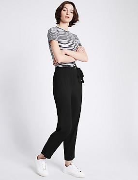 Eyelet Detail Slim Leg Trousers, BLACK, catlanding